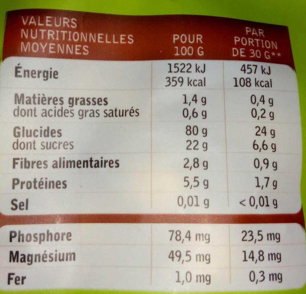Pop's choc & miel - Informations nutritionnelles - fr