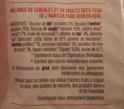 Muesli aux Fruits Bio - Ingredientes