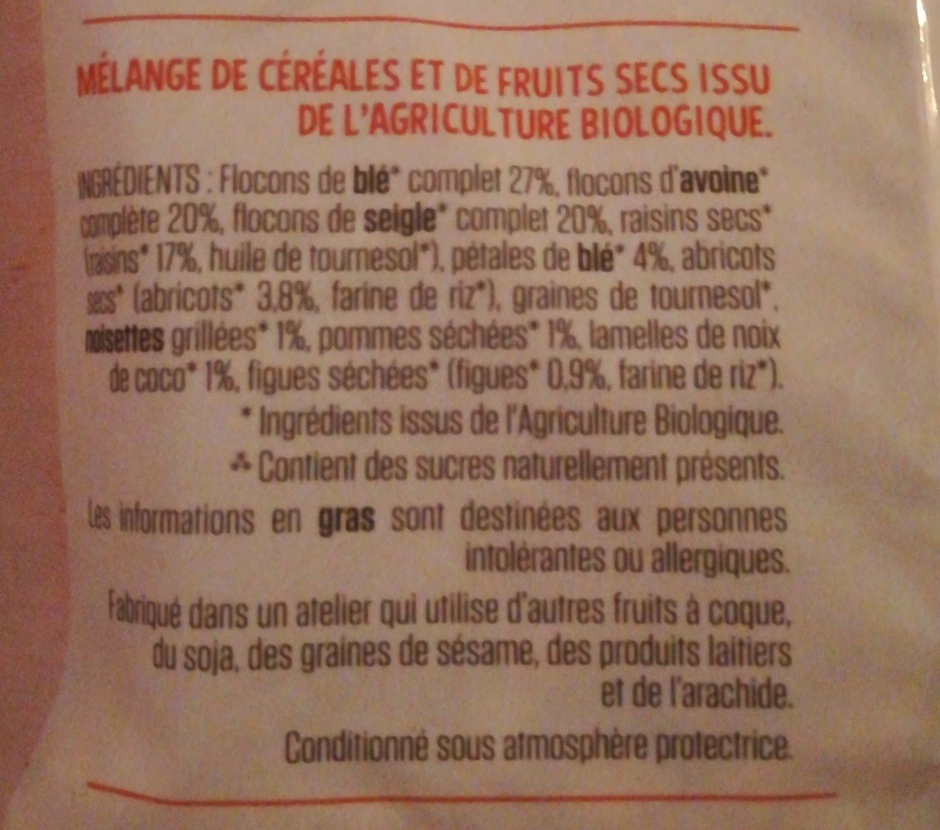 Muesli aux Fruits Bio - Ingredients