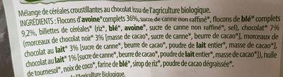 Muesli croustillant chocolat - Ingrediënten