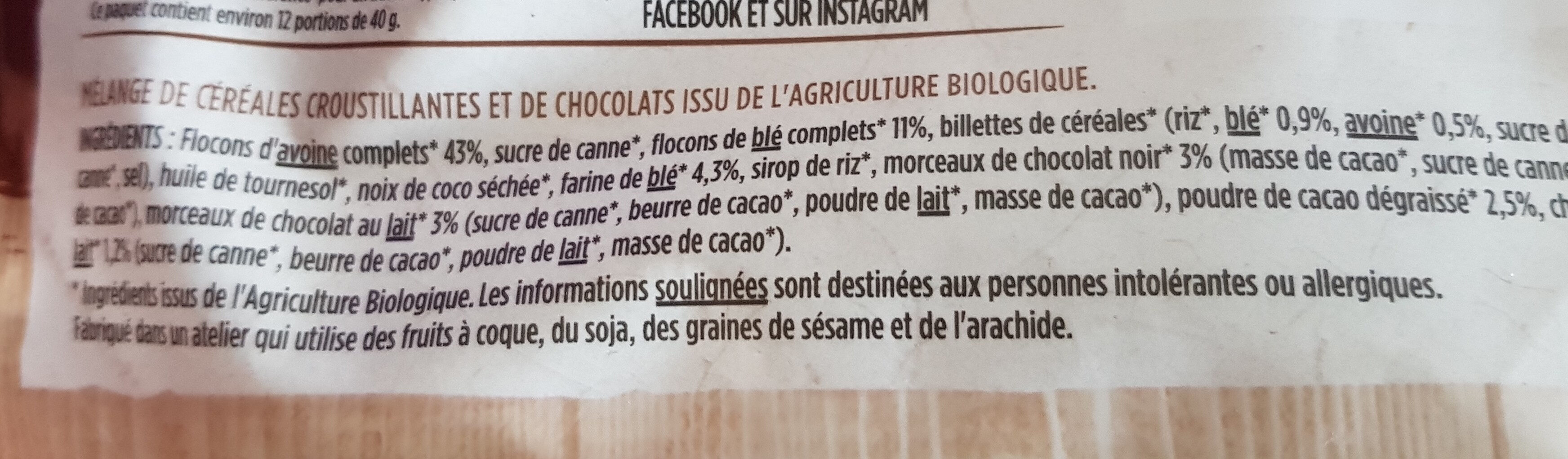 Muesli croustillant chocolat 500 g - Ingredienti - fr