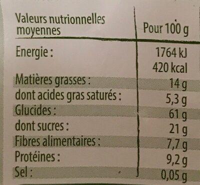 Muesli croustillant chocolat 500 g - Valori nutrizionali - fr