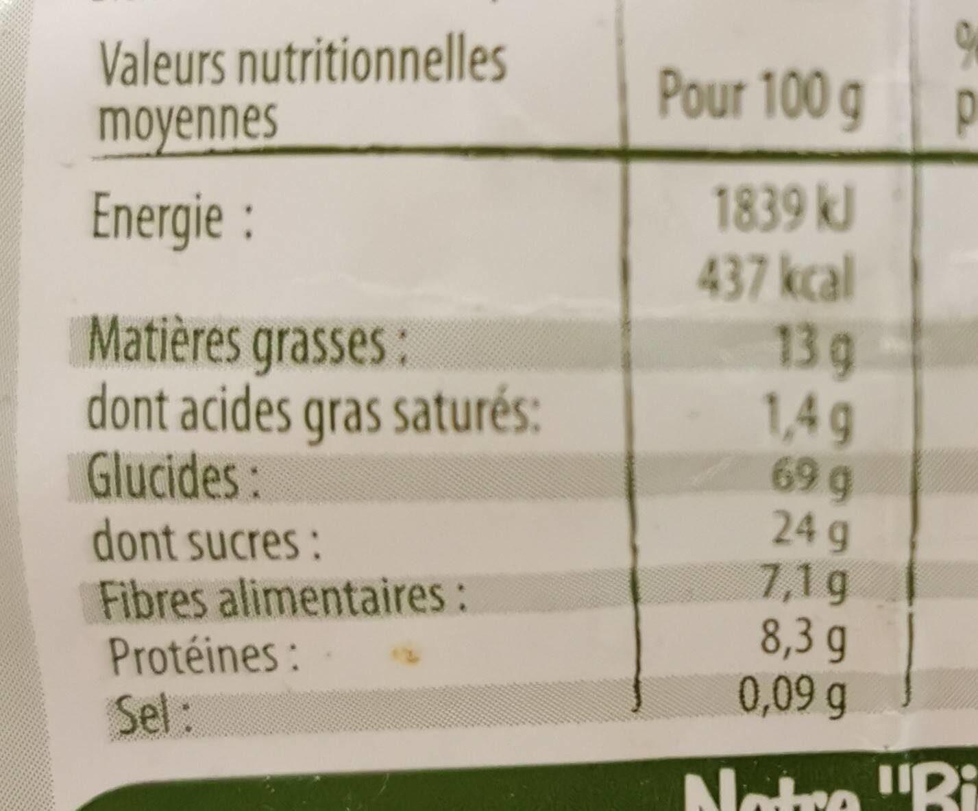 Muesli croustillant pommes canelle - Información nutricional - fr