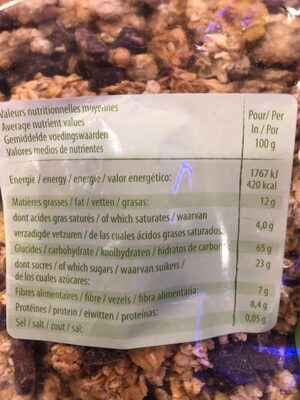 Muesli croustillant duo pépite - Nutrition facts - fr