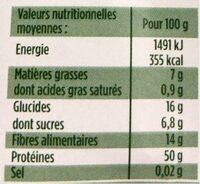 Protéines de Soja Émincées - Informations nutritionnelles - fr