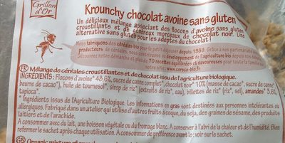 Krounchy chocolat avoine sans gluten - Ingredientes - fr