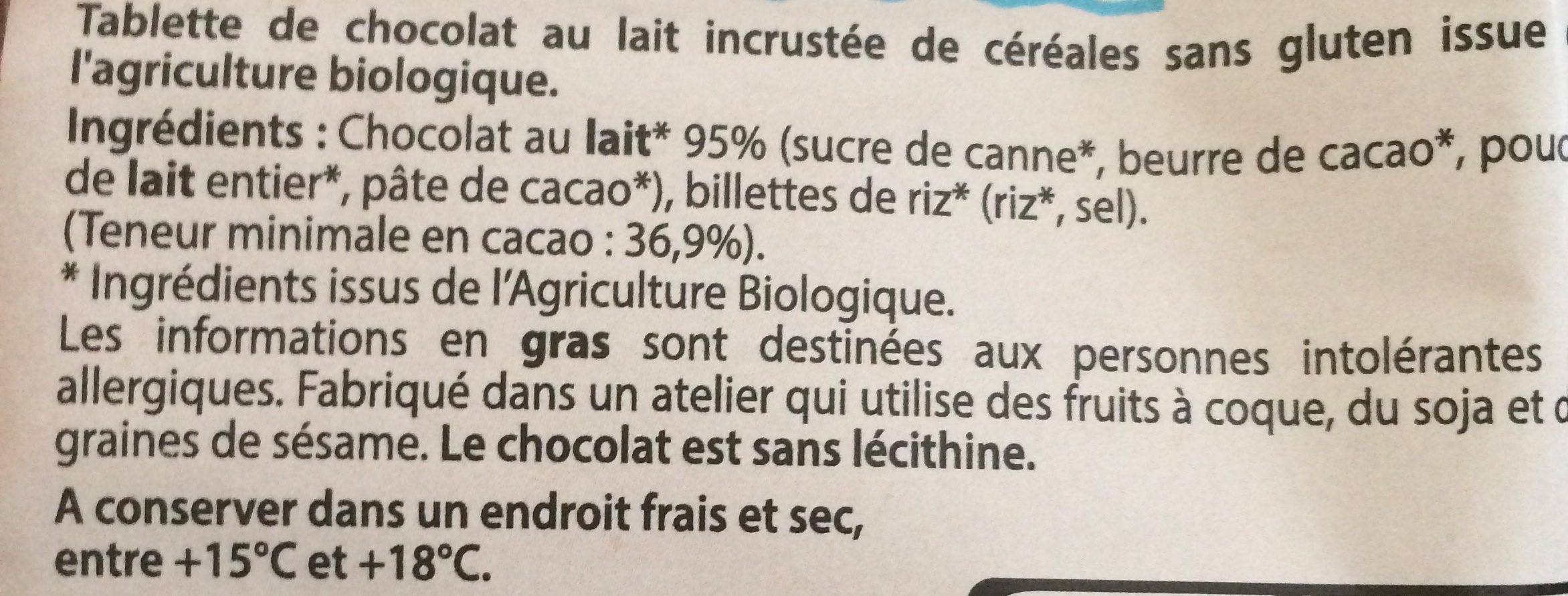 Chocolait Lait Eclats De Riz - Ingrédients - fr