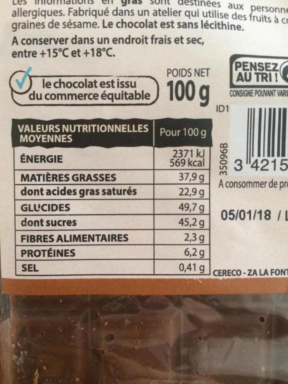 Chocolait Lait Eclats De Riz - Informations nutritionnelles - fr