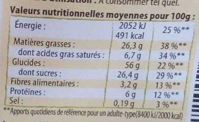 Domino Amandes Noisettes - Informations nutritionnelles