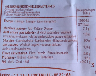 Flocons d'avoine sans gluten - Informations nutritionnelles
