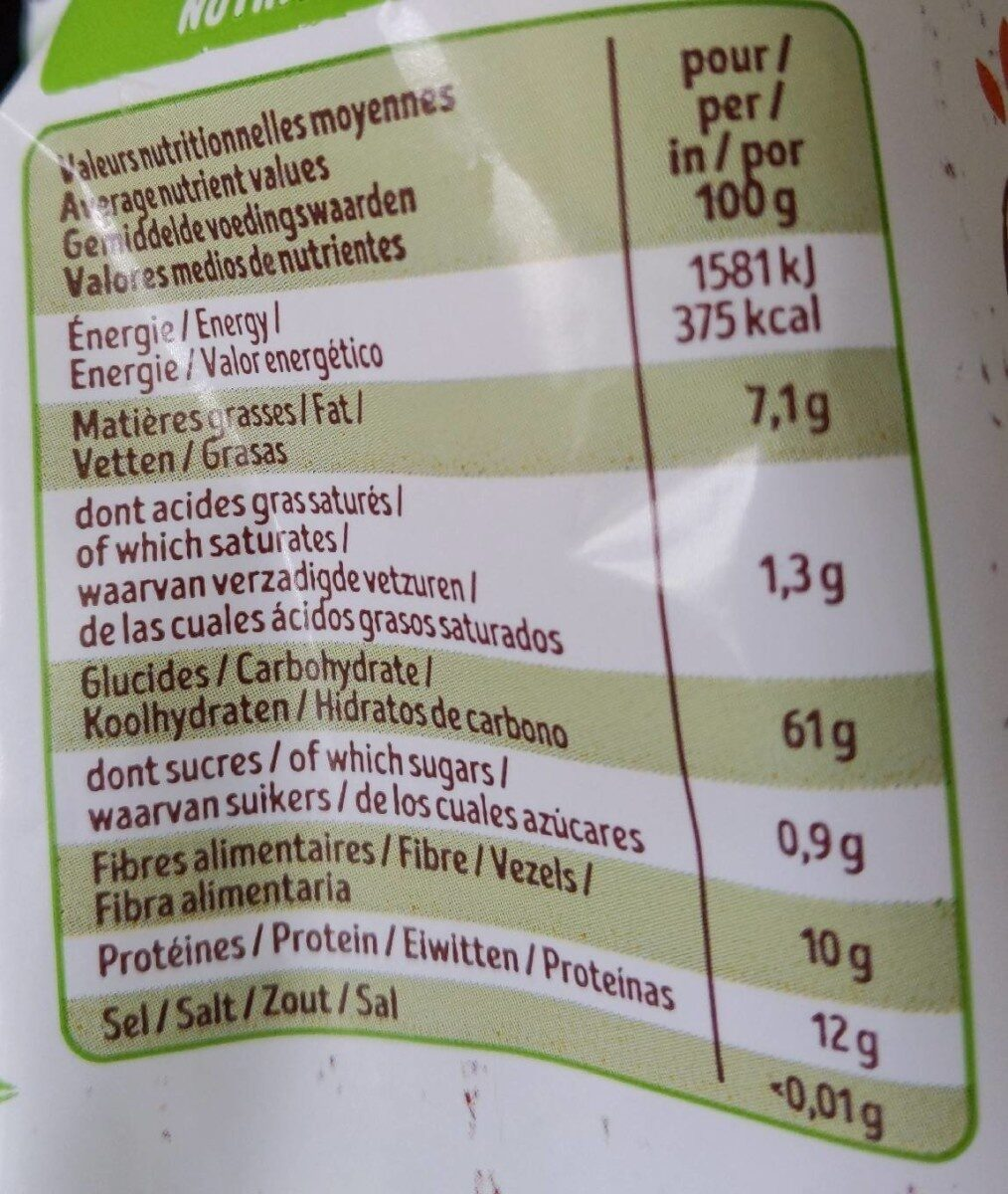 Flocons d'avoine sans gluten - Nutrition facts - fr
