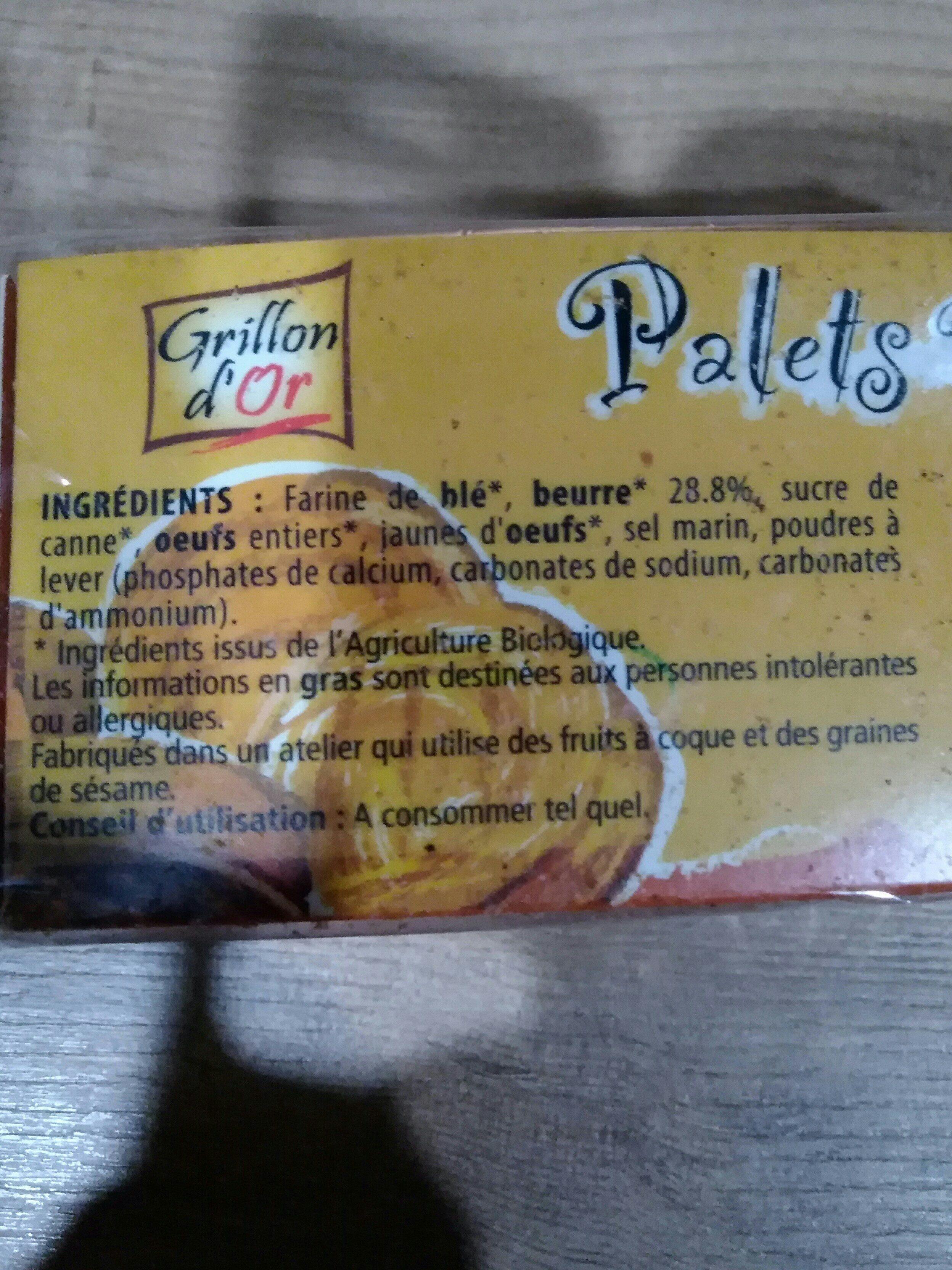 Palets Pur Beurre 115G Grillon Ab Bio - Ingrédients - fr