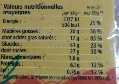 Palets Pur Beurre 115G Grillon Ab Bio - Informations nutritionnelles - fr
