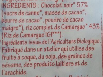 Galettes de riz chocolat noir - Ingrédients - fr