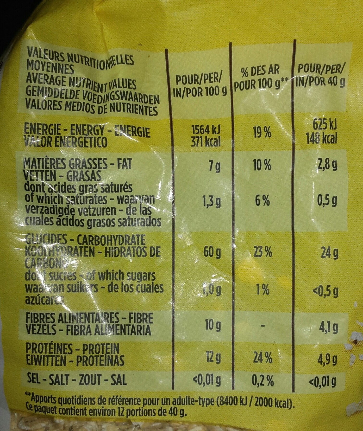 Flocons d'avoine Complets - Nutrition facts - fr