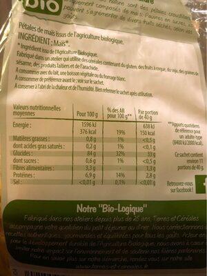 Corn flakes sans sucres ajoutés - Valori nutrizionali - fr