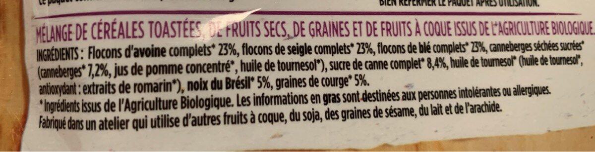 Granola canneberges noix bresil graine de courges - Ingredients