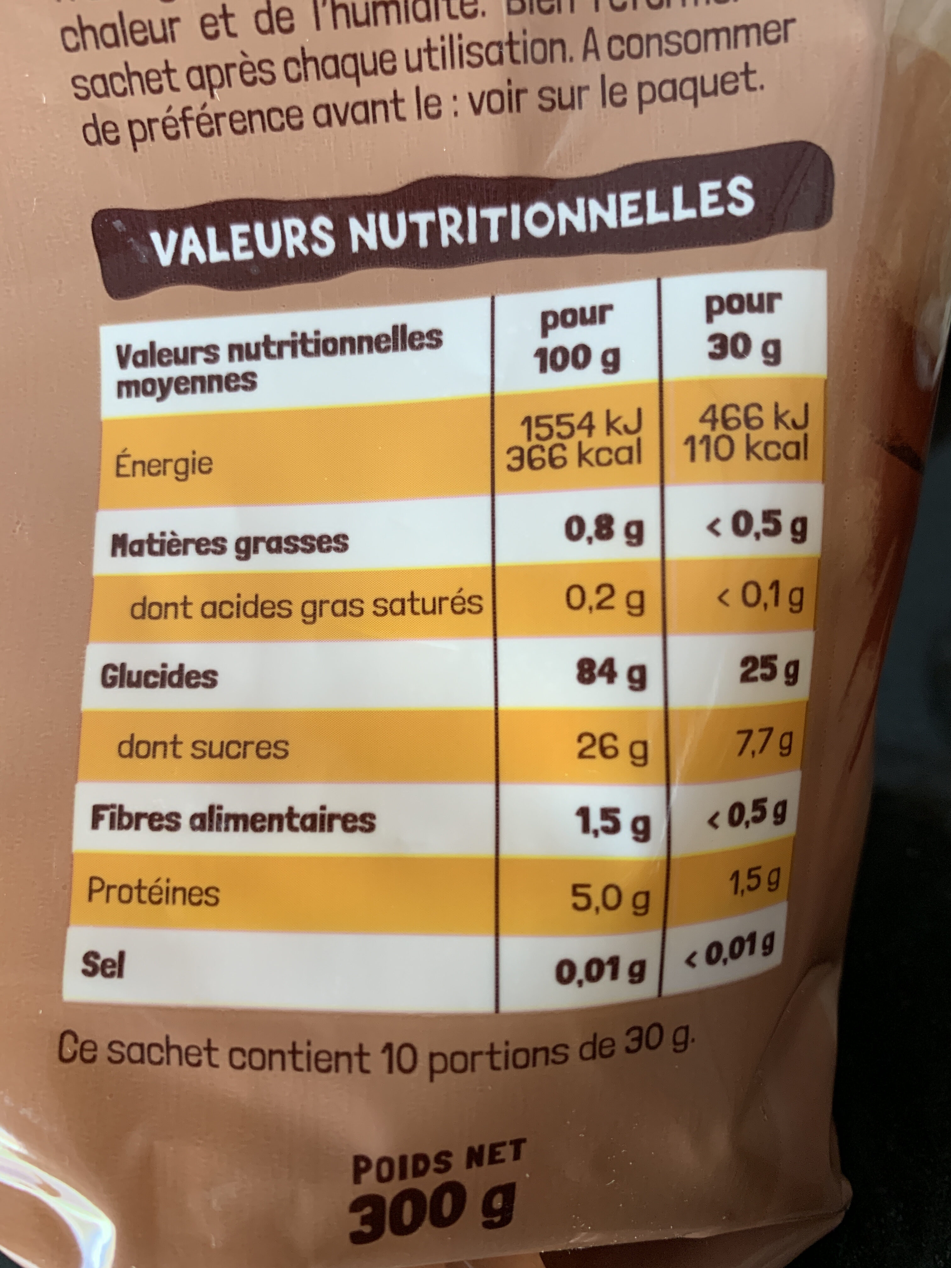 MOPS miel - Nutrition facts