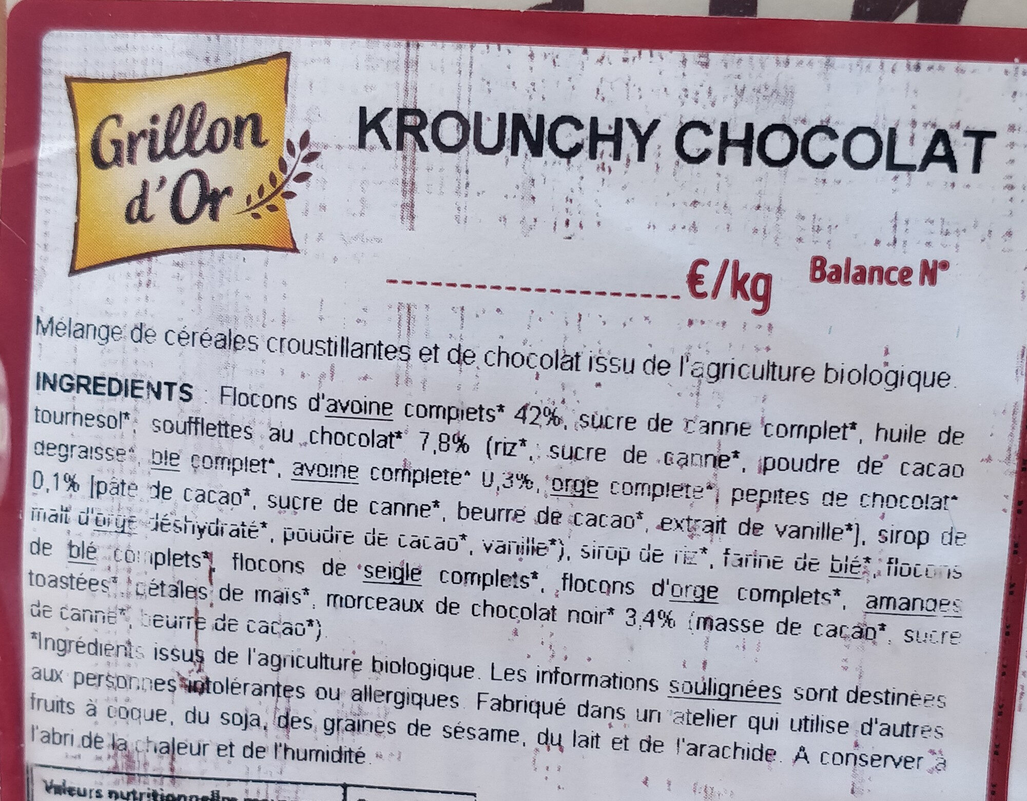 Krounchy chocolat - Ingrediënten - fr