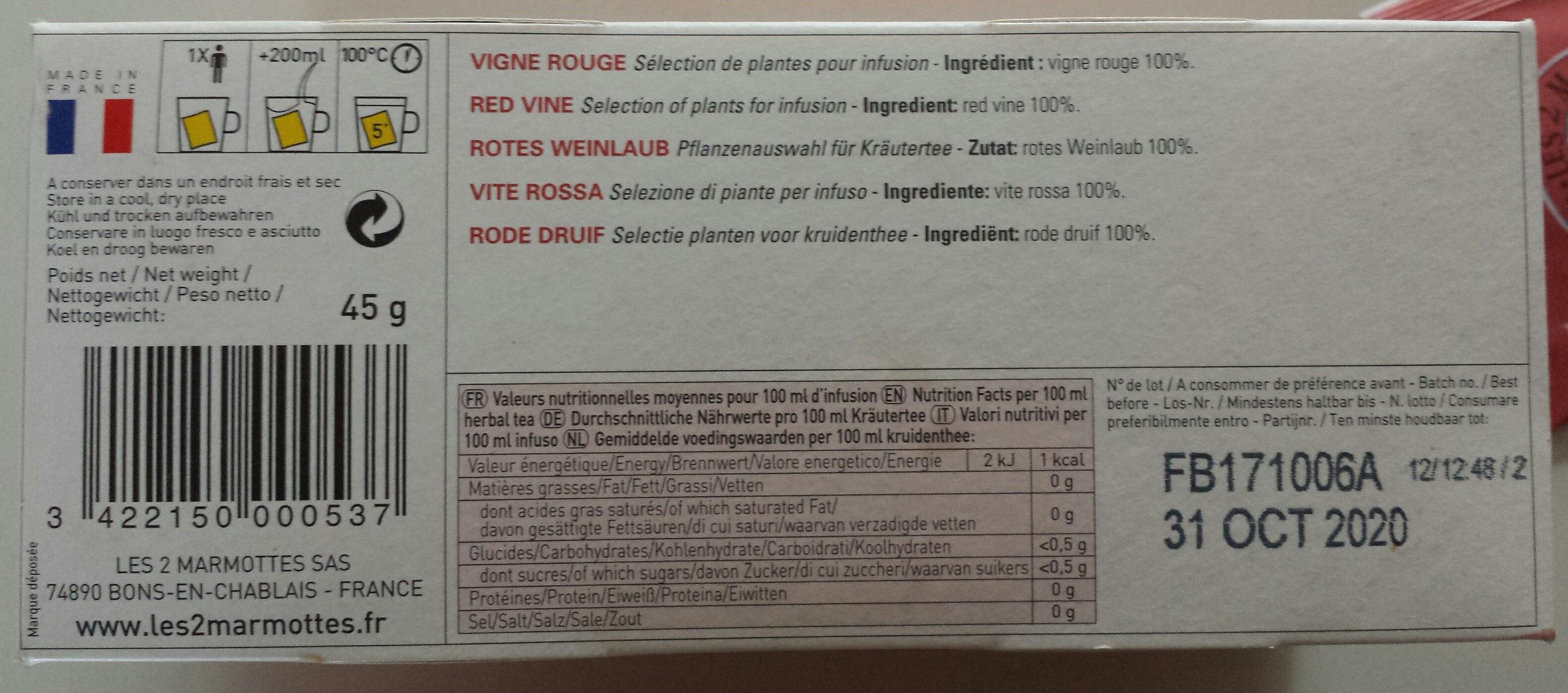 Vigne rouge - Ingredients