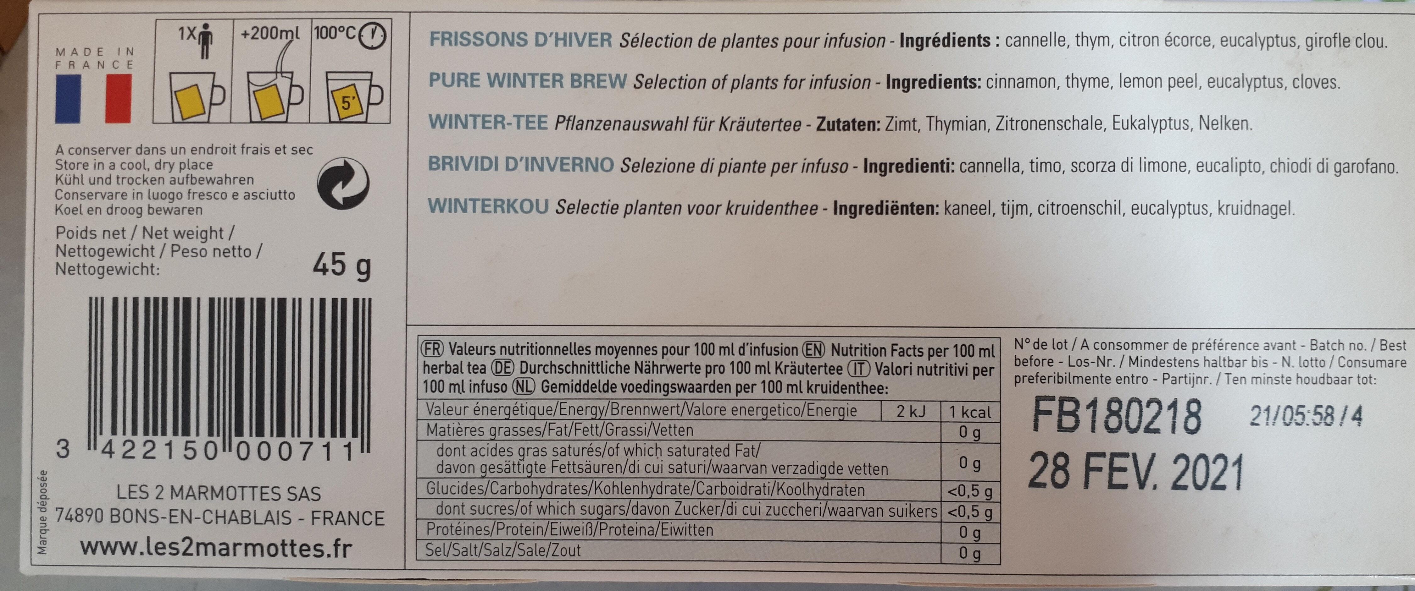 FRISSONS D'HIVER - Valori nutrizionali - fr