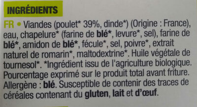 Nuggets au poulet croustillants bio - Ingredients