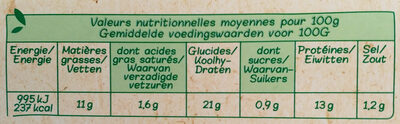 Nuggets au poulet bio - Nutrition facts - fr