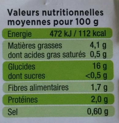 L'Écrasé de pommes de terre - Nutrition facts - fr