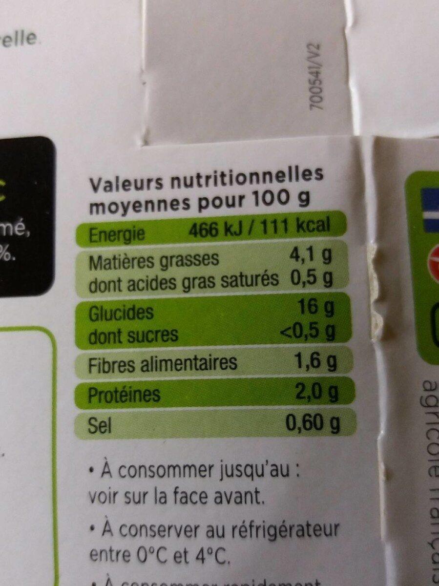 L'Écrasé de pommes de terre - Informação nutricional - fr