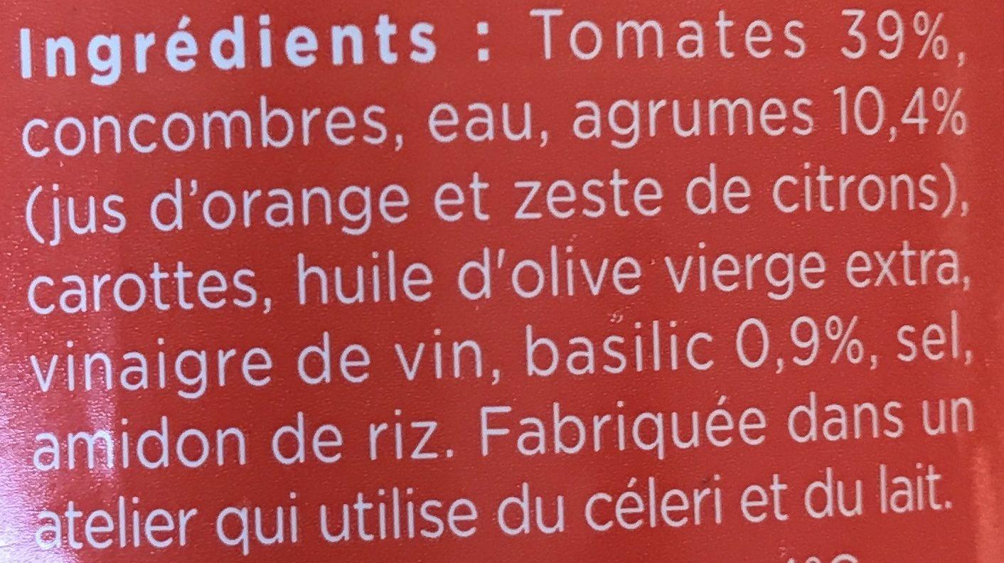 Gazpacho Tomate Basilic &  Pointe d'agrumes - Ingrédients - fr