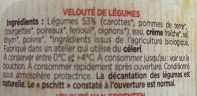Mes potages Bio 6 Légumes - Ingrédients - fr