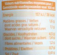 Le velouté potirons carottes - Información nutricional - fr