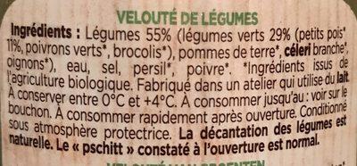 Mes potages Bio Petits pois et légumes verts - Ingrédients - fr