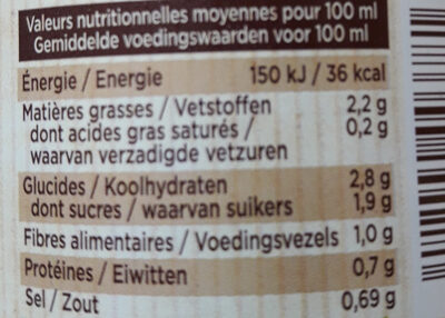Mon Gazpacho bio - Informations nutritionnelles - fr