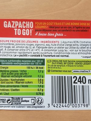 Gaspacho To go - Ingrédients - fr