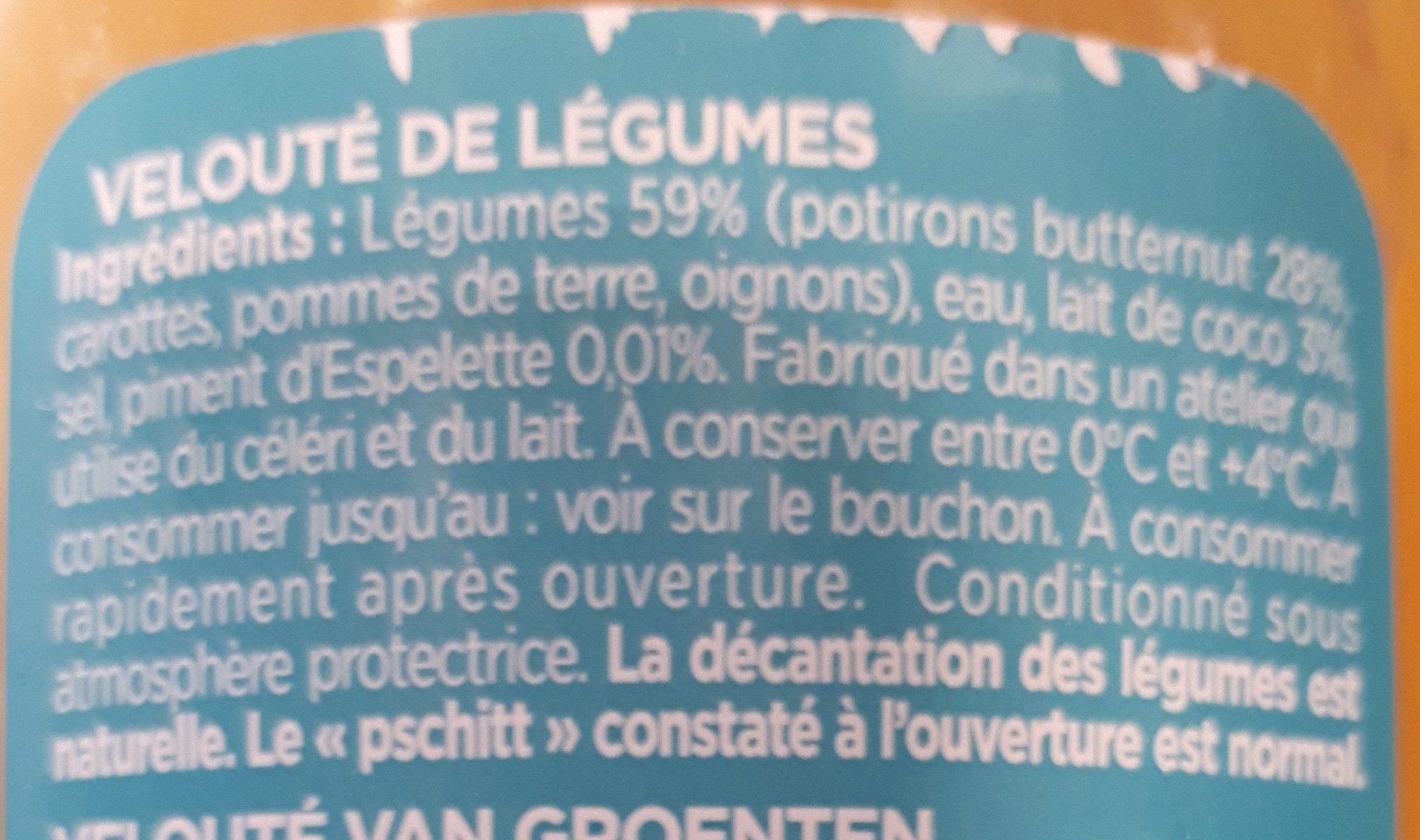 Velouté butternut au lait de coco et au piment d'Espelette - Ingrédients - fr