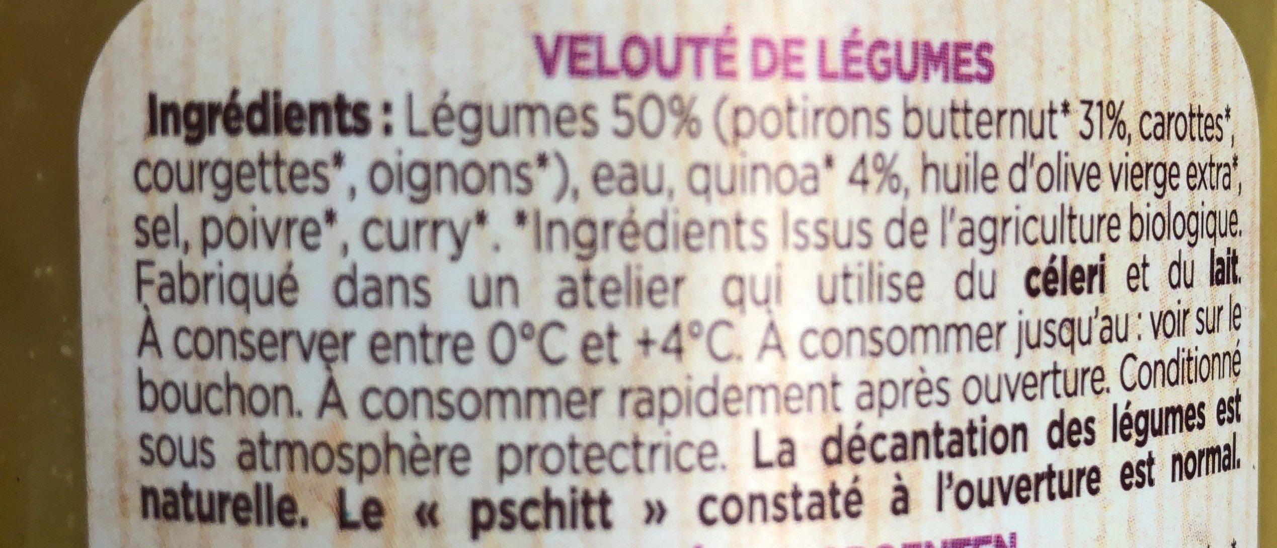 Potage bio - Ingrédients - fr