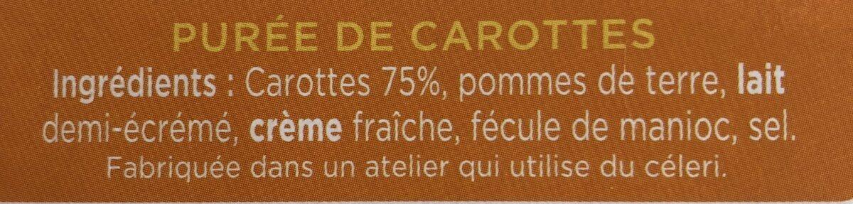 La purée de Carottes - Ingredientes - fr