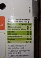 La purée de Carottes - Informations nutritionnelles - fr
