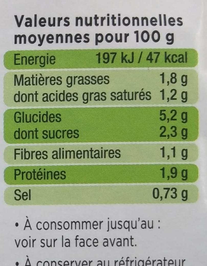 La purée courgettes - Informations nutritionnelles - fr