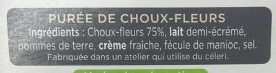 La Purée Choux Fleurs - Ingrédients - fr