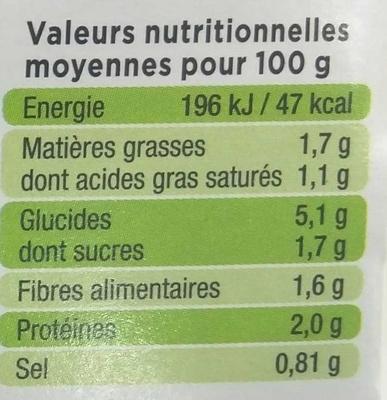La Purée Choux Fleurs - Informations nutritionnelles - fr