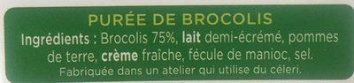 La Purée Brocolis - Informations nutritionnelles