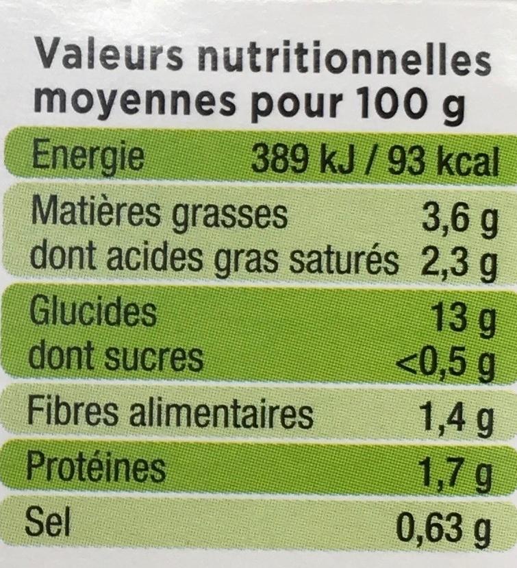 L'Écrasé de pommes de terre aux 2 carottes - Informations nutritionnelles - fr