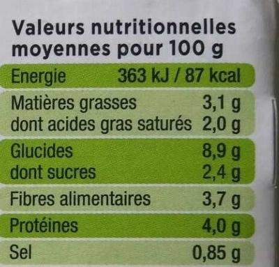 La Purée Petits Pois - Informations nutritionnelles - fr