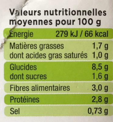 Purée trio de légumes verts - Informations nutritionnelles - fr