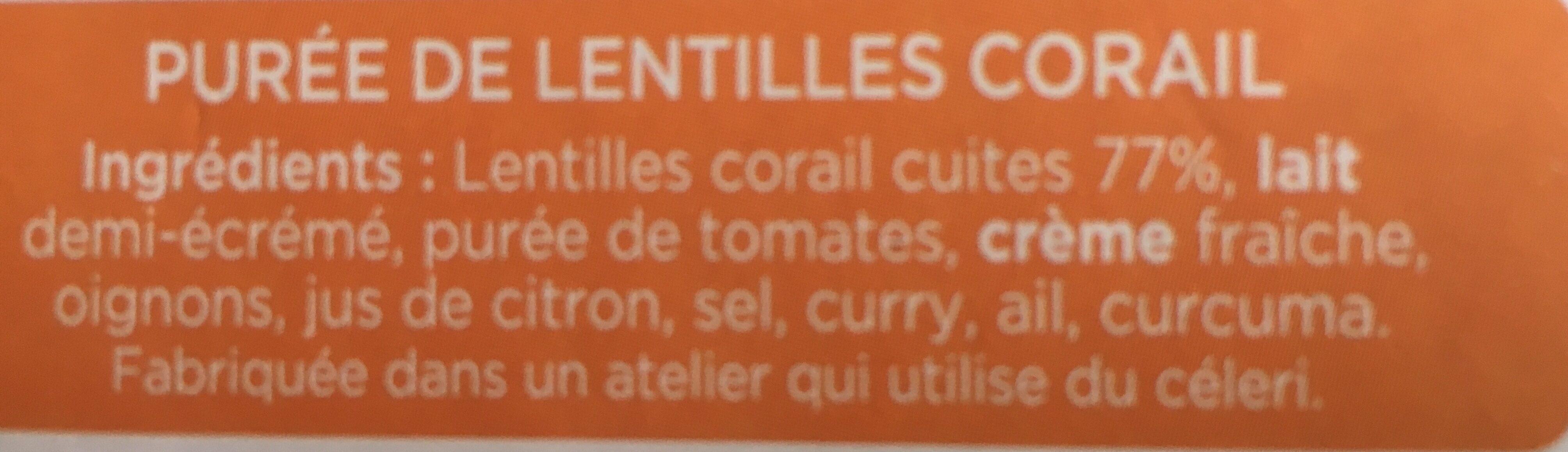 La PURÉE Lentilles Corail - Ingrédients - fr