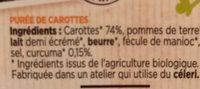 Mes purées bio carottes - Ingredients - fr