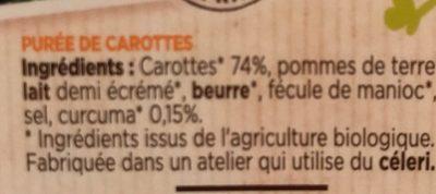 Mes purées bio carottes - Ingrédients