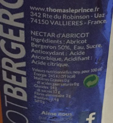 Thomas le Prince nectar d'abricot bouteille verre - Inhaltsstoffe - fr